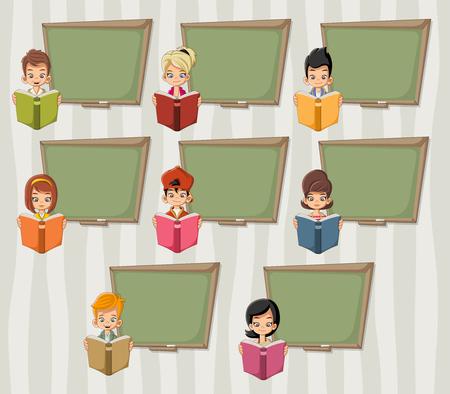 enfants Cartoon lecture de livres plus vert tableau tableau noir. Élèves.