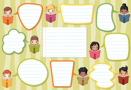 Template with cartoon children reading books. Students talking with speech bubbles. Illustration