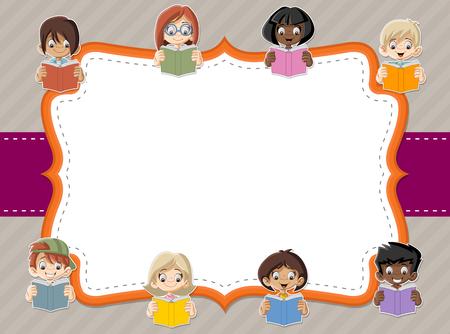 cartoon reading: Card with cartoon children student reading books. Students. Illustration