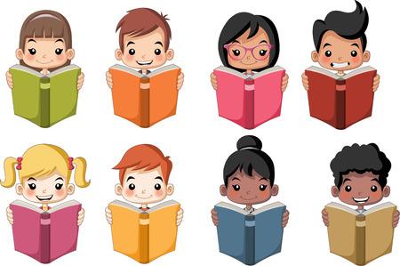 blonde teenager: Cute cartoon children reading books. Students. Illustration