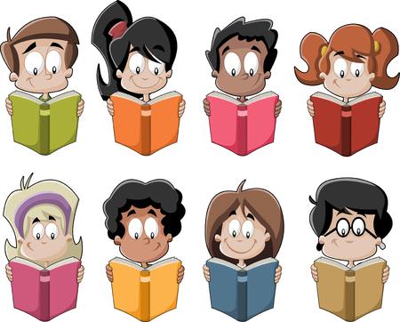 student reading: Cute cartoon children reading books. Students. Illustration