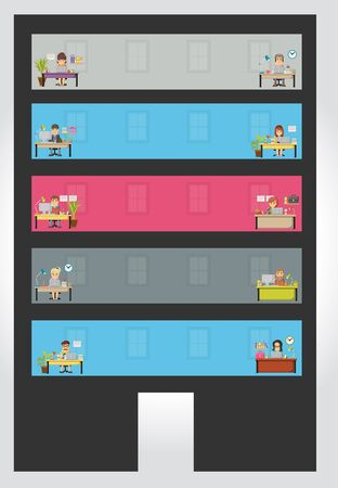 workspace: Widows with cartoon business people working. Building with office workspace.