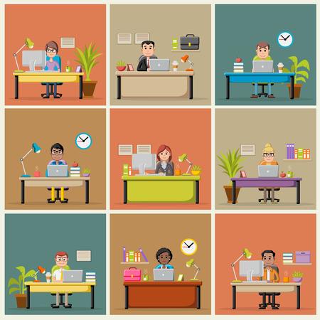 Plantilla con la gente de negocios de dibujos animados de trabajo con el ordenador. espacio de trabajo de oficina con escritorios. Foto de archivo - 60616902