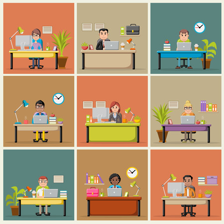 Template with cartoon business people working with computer. Office workspace with desks. Vetores