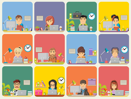 Template with cartoon business people working with computer. Office workspace with desks.