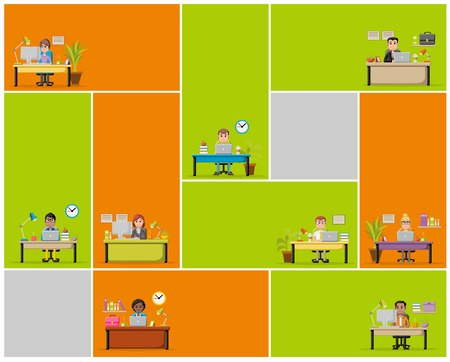business meeting: Cartoon business people working with computer. Office workspace with desks.