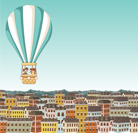 jubilation: Cartoon kids inside a hot air balloon flying over colorful city.