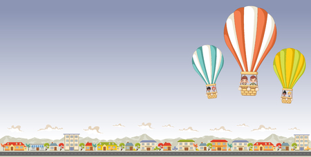 Cartoon kids inside a hot air balloon flying over a suburban neighborhood of a colorful city.