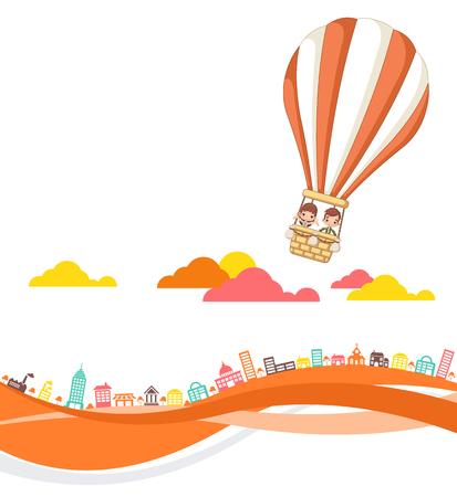 色鮮やかな街の上を飛んで、熱気球の中の子供たちを漫画します。