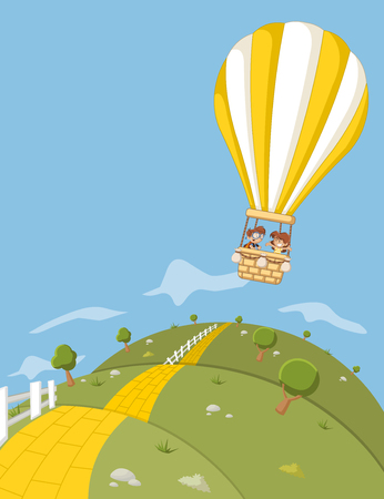 brick road: Cartoon kids inside a hot air balloon flying over green hills with a yellow brick road. Illustration