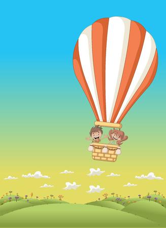Cartoon kids inside a hot air balloon flying over the green park