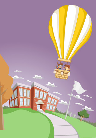 jubilation: Cartoon kids inside a hot air balloon flying over the school building. Illustration