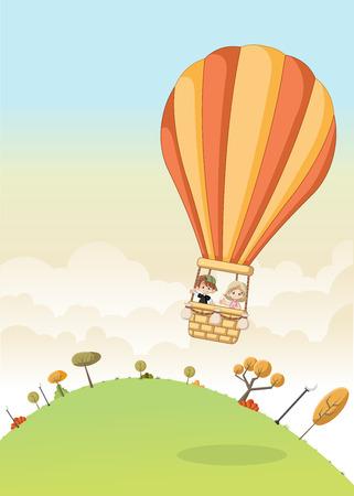 jubilation: Cartoon kids inside a hot air balloon flying over the green park