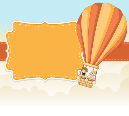 Cartoon kids inside a hot air balloon in the sky. Infographic template design. Illustration