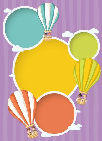 Cartoon kids inside a hot air balloon in the sky. Infographic template design.