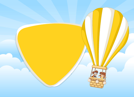 jubilation: Cartoon kids inside a hot air balloon in the sky. Infographic template design. Illustration