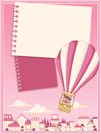 suburb: Card with cartoon baby girl inside a hot air balloon flying over the suburb neighborhood of the pink city.
