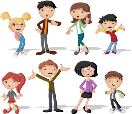Kolorowe szczęśliwe osoby. Rodzinna kreskówka. Ilustracje wektorowe