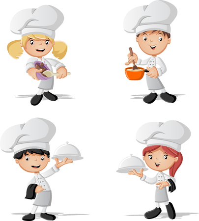 children clothing: Cartoon chefs cooking and holding tray with food.