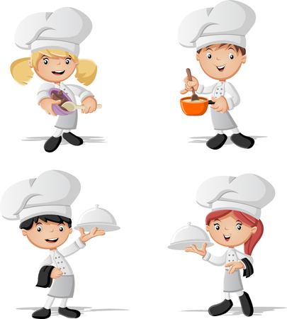 chefs cartoon koken en het bedrijf lade met voedsel. Stock Illustratie