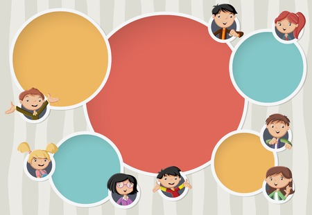 Vector banners / backgrounds with cartoon family. Circle frames for text. Infographic design template with balls.