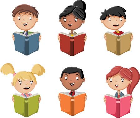 kid book: Cute cartoon children reading books. Students. Illustration
