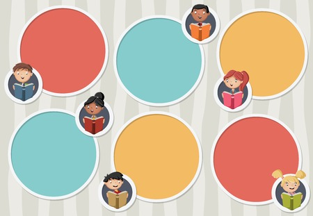 text books: Vector banners  backgrounds with cartoon children reading books. Circle frames for text with students. Infographic design template with balls.