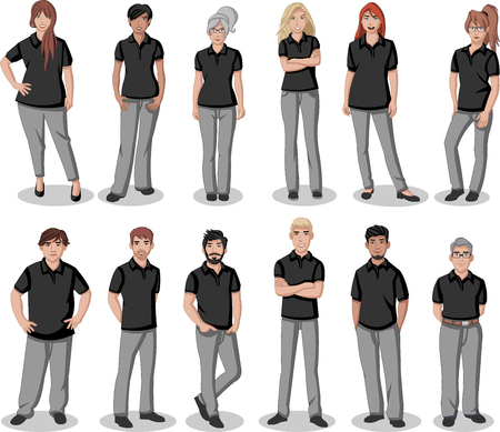 Business cartoon young people wearing black polo shirt