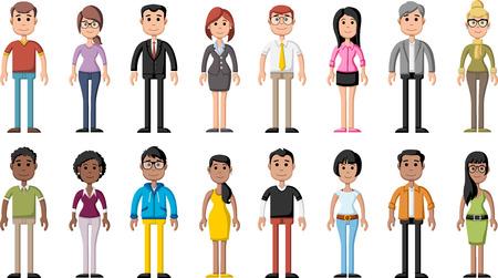 Group of cartoon business people Stock Illustratie
