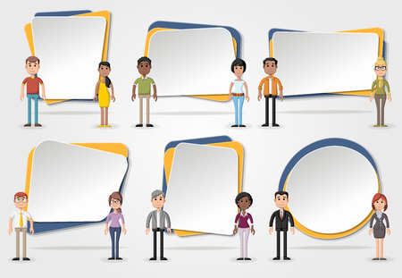 text box: Vector banners  backgrounds with business people. Design text box frames.