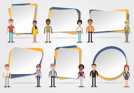 Banderas del vector / antecedentes con la gente de negocios. Diseño marcos de cuadro de texto.