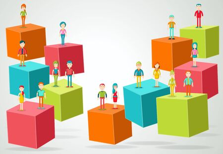 3d cubes with business people. Infographic design. Illustration