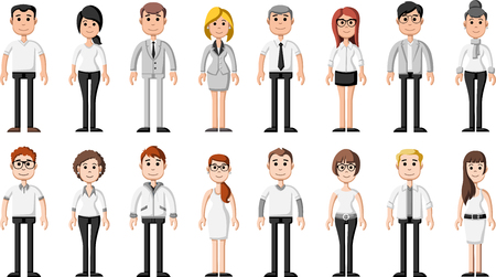 Group of cartoon business people wearing white clothes Vetores