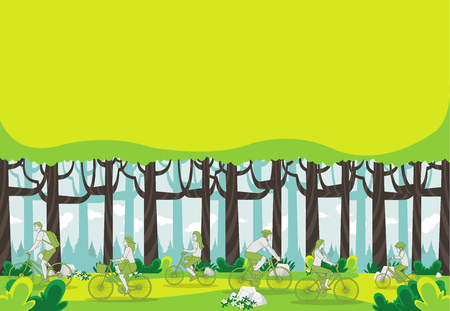 Green forest with people riding bicycles