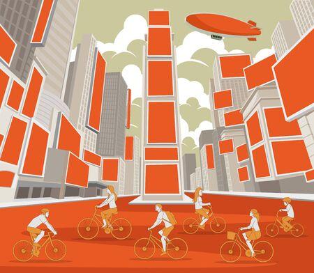 Las personas que conducen bicicletas en Times Square, Manhattan, Nueva York. ESTADOS UNIDOS. Ilustración de vector