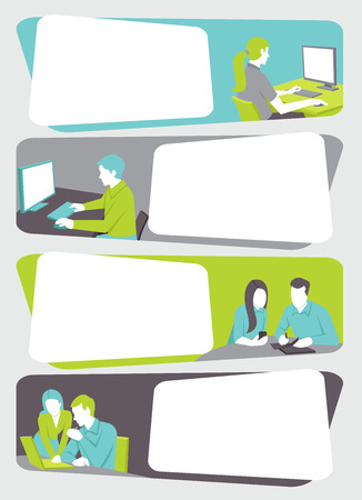 business meeting computer: Template with cartoon business people working with computer. Office workspace with desks. Illustration