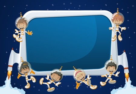 futuristic girl: Futuristic rocket screen board with astronaut cartoon children in the space.