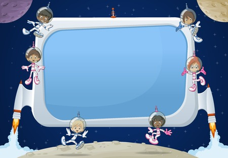 space cartoon: Futuristic rocket screen board with astronaut cartoon children in the space.