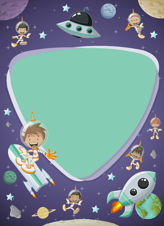 Futuristic screen board with astronaut cartoon children in the space. Vectores