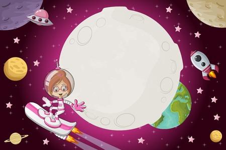 未来のロケット スケート ボードで宇宙を飛んで宇宙飛行士漫画少女。