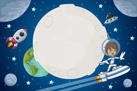 cartoon space: Astronaut cartoon boy flying in the space with a futuristic rocket skate board.