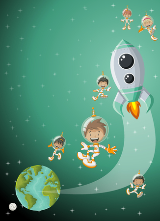 Astronaut cartoon children flying in the space with a futuristic rocket shuttle. Spaceship around the planet earth and moon. Stock Illustratie