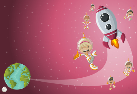 Astronaut cartoon children flying in the space with a futuristic rocket shuttle. Spaceship around the planet earth and moon. Illustration