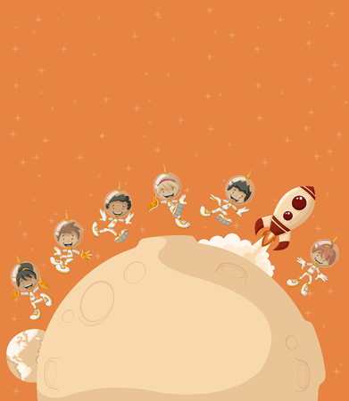 missionary: Astronaut cartoon children flying around and moon in orange space background.