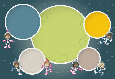 missionary: Astronaut cartoon children flying around colorful planets in the space background. Illustration