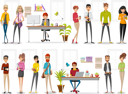 Cartoon business people working with computer. Office workspace with desks. Vetores