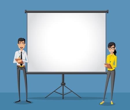Beeldverhaal bedrijfsmensen en wit aanplakbord met lege ruimte. Presentatiescherm.