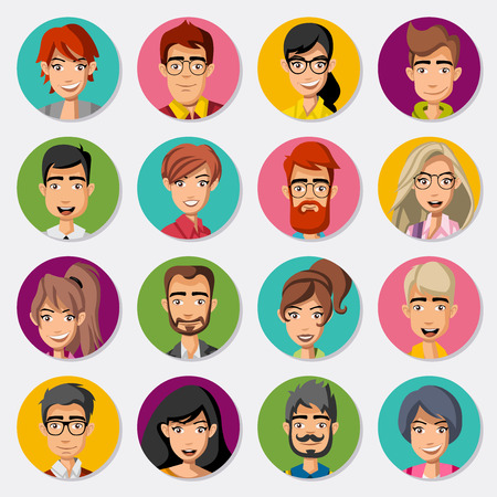 blonde: Faces of cartoon business people