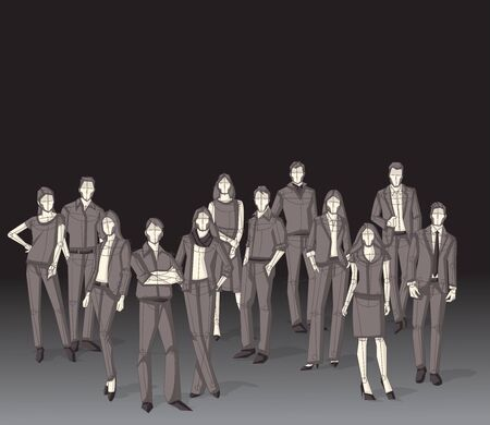 casual business team: Group of business people. Sketch silhouette.