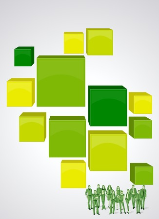 Orange 3d cubes with business people. Infographic design. Sketch silhouette.